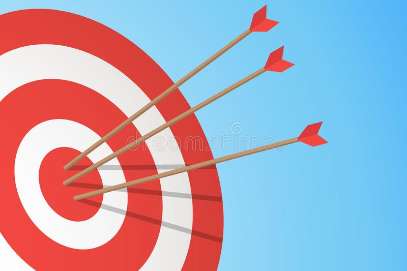 Βέλη που χτυπούν έναν στόχο Ένας στόχος και τρία βέλη Έννοια επιχειρησιακού στόχου επίσης corel σύρετε το διάνυσμα απεικόνισης απεικόνιση αποθεμάτων