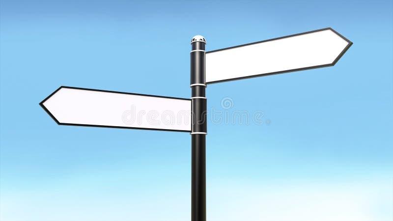 Βέλη σημαδιών οδών και κενό άσπρο χρώμα για το μπλε υπόβαθρο κειμένων και ουρανού διανυσματική απεικόνιση