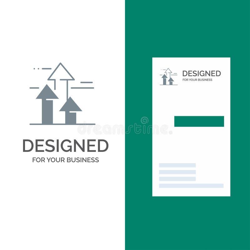 Βέλη, σπάσιμο, σπάσιμο, μπροστινό, σχέδιο λογότυπων ορίων γκρίζο και πρότυπο επαγγελματικών καρτών διανυσματική απεικόνιση