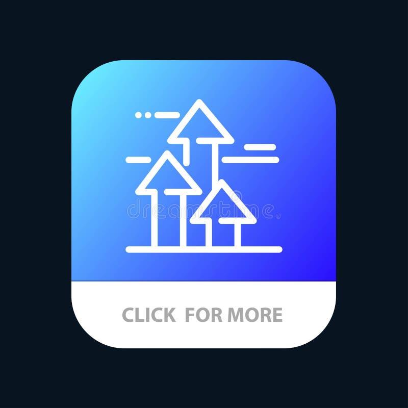 Βέλη, σπάσιμο, που σπάζουν, μπροστινός, κινητό App ορίων κουμπί Έκδοση αρρενωπών και IOS γραμμών διανυσματική απεικόνιση