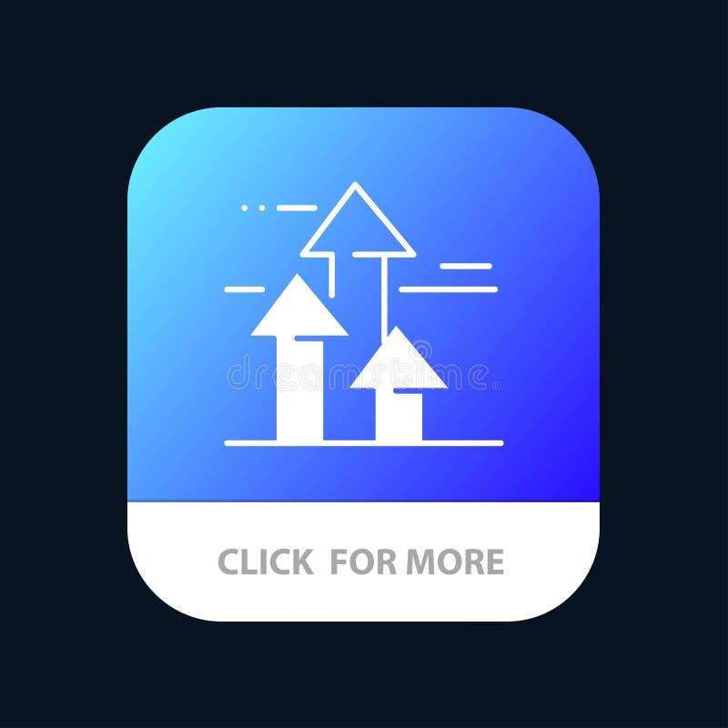 Βέλη, σπάσιμο, που σπάζουν, μπροστινός, κινητό App ορίων κουμπί Αρρενωπή και IOS Glyph έκδοση διανυσματική απεικόνιση