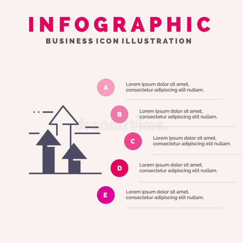 Βέλη, σπάσιμο, που σπάζουν, μπροστινός, στερεό εικονίδιο Infographics 5 ορίων υπόβαθρο παρουσίασης βημάτων διανυσματική απεικόνιση