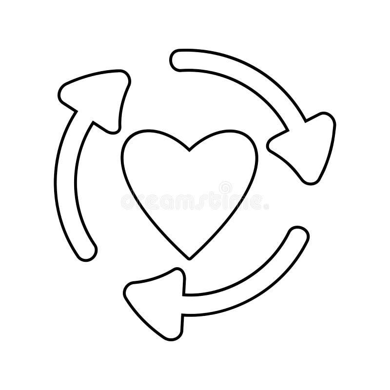 βέλη στον κύκλο του εικονιδίου καρδιών Στοιχείο της ασφάλειας cyber του κινητού εικονιδίου έννοιας και Ιστού apps Λεπτό εικονίδιο απεικόνιση αποθεμάτων