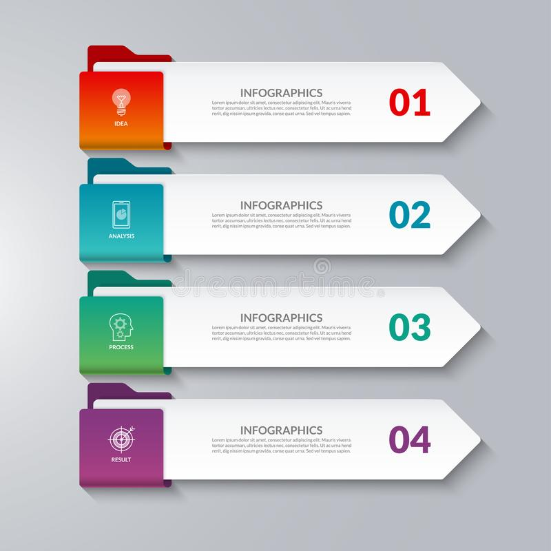 Βέλη Infographic 4 επιλογές, βήματα, μέρη ελεύθερη απεικόνιση δικαιώματος