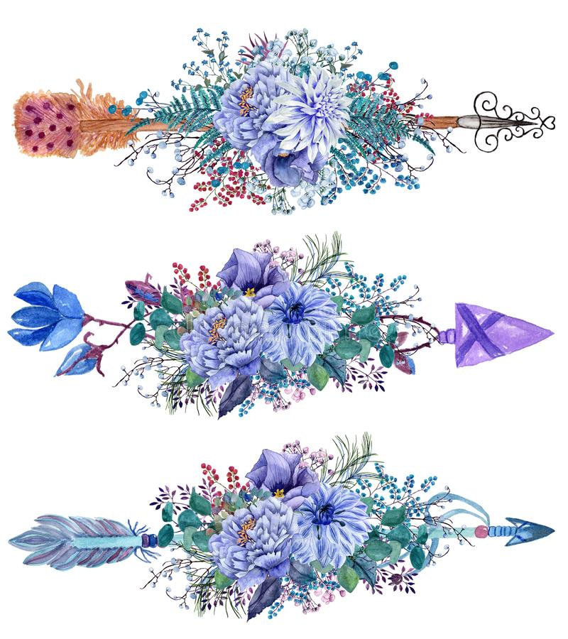 Βέλη Watercolor που τίθενται με τις ανθοδέσμες λουλουδιών διανυσματική απεικόνιση
