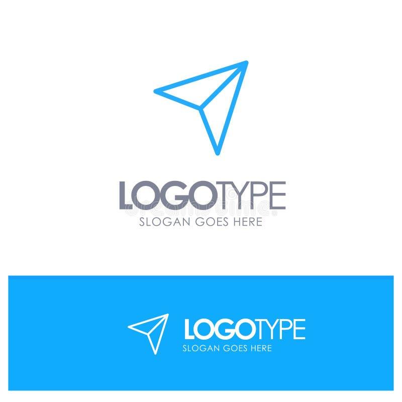 Βέλος, δείκτης, επάνω, έπειτα μπλε λογότυπο περιλήψεων με τη θέση για το tagline διανυσματική απεικόνιση