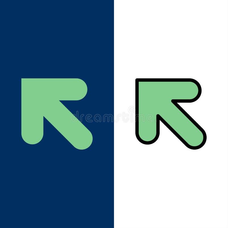 Βέλος, επάνω, αριστερά εικονίδια Επίπεδος και γραμμή γέμισε το καθορισμένο διανυσματικό μπλε υπόβαθρο εικονιδίων ελεύθερη απεικόνιση δικαιώματος
