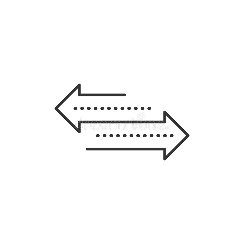 Βέλος κατεύθυνσης Μεταφορά απλό επίπεδο σχέδιο τέχνης τάσης σύγχρονο γραμμικό γραφικό που απομονώνεται στο άσπρο υπόβαθρο Έννοια  ελεύθερη απεικόνιση δικαιώματος