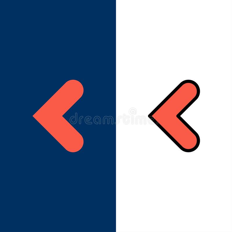 Βέλος, πίσω, οπίσθια, αριστερά εικονίδια Επίπεδος και γραμμή γέμισε το καθορισμένο διανυσματικό μπλε υπόβαθρο εικονιδίων διανυσματική απεικόνιση