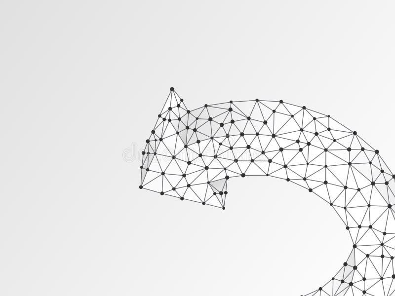 Βέλος που προωθεί wireframe την ψηφιακή διανυσματική τρισδιάστατη απεικόνιση origami Χαμηλή πολυ επιχείρηση, πρόκληση, έννοια στό διανυσματική απεικόνιση