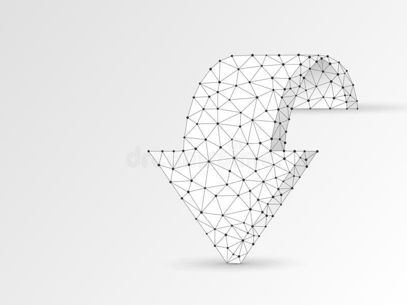 Βέλος που προωθεί wireframe την ψηφιακή διανυσματική τρισδιάστατη απεικόνιση origami Χαμηλή πολυ επιχειρησιακή πρόκληση, έννοια σ απεικόνιση αποθεμάτων