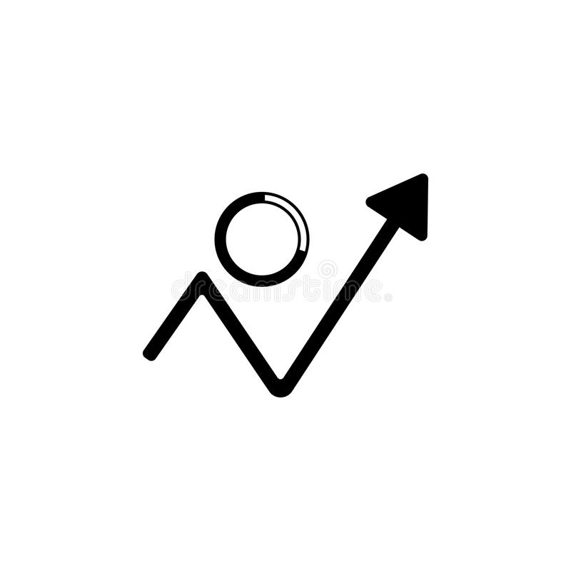 βέλος της αύξησης και του ενδεικτικού εικονιδίου πιτών Στοιχείο του απλού εικονιδίου για τους ιστοχώρους, σχέδιο Ιστού, κινητό ap διανυσματική απεικόνιση