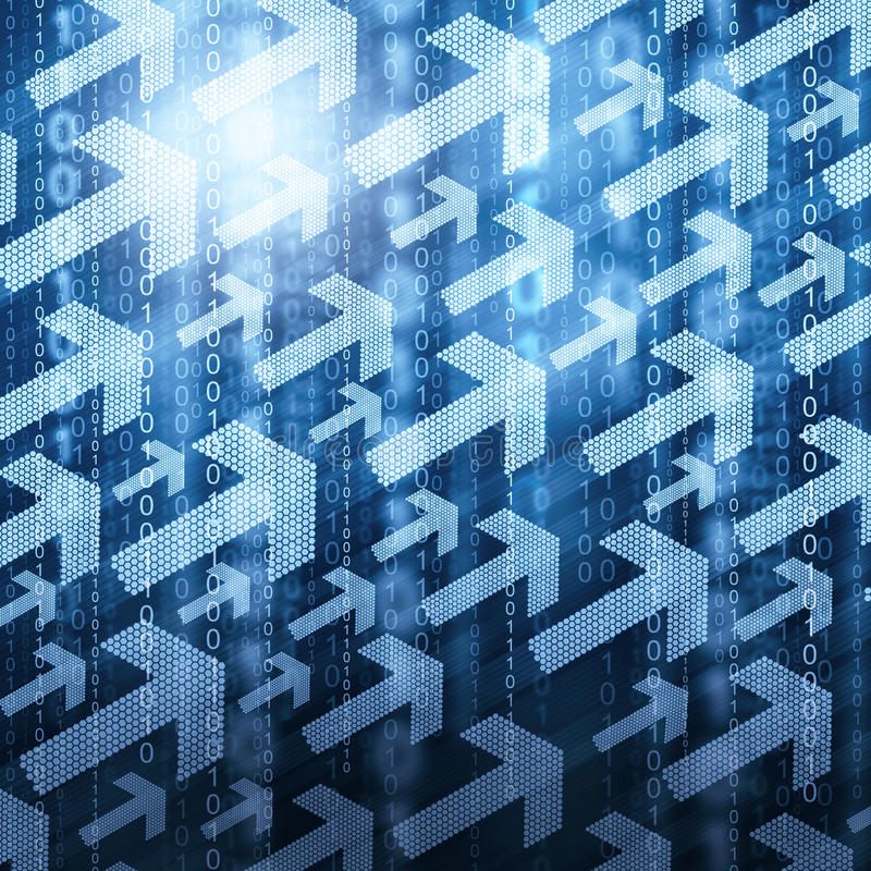 Βέλη και δυαδικός κώδικας διανυσματική απεικόνιση