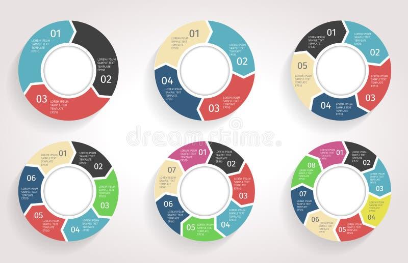 Βέλη κύκλων infographic Διανυσματικό πρότυπο στο επίπεδο ύφος σχεδίου απεικόνιση αποθεμάτων
