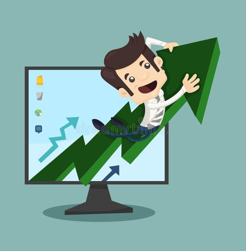 Βέλος αύξησης επιχειρηματιών με την ανάπτυξη ελεύθερη απεικόνιση δικαιώματος