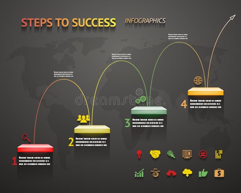 Βέλος και σκάλα Infographic προτύπων βημάτων επιλογής επιτυχίας διανυσματική απεικόνιση