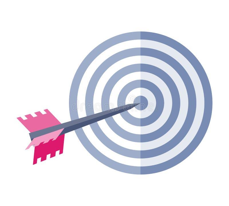 Βέλος στο διανυσματικό εικονίδιο στόχων στο επίπεδο σχέδιο ύφους απεικόνιση αποθεμάτων