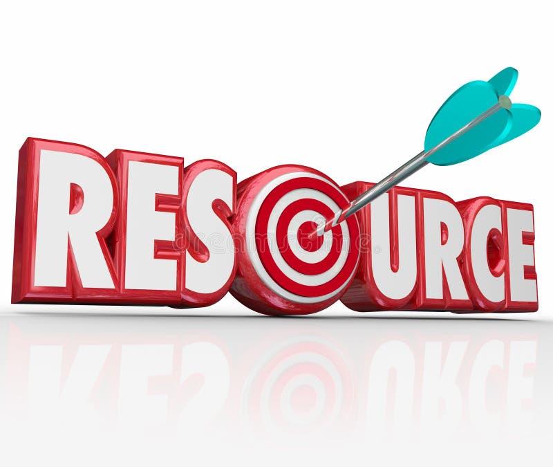 Βέλος του Word των πόρων στις δεξιότητες Expe συλλογής πληροφοριών στόχων απεικόνιση αποθεμάτων