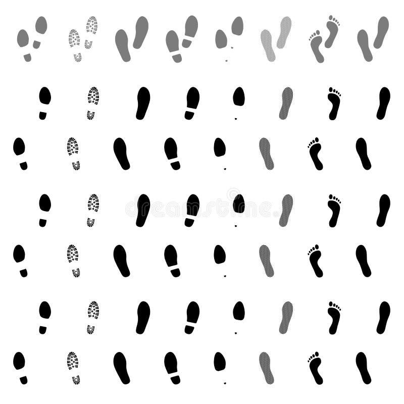 βήματα ίχνη Παπούτσι και γυμνή τυπωμένη ύλη ποδιών Σφραγίδες παπουτσιών καθορισμένες Ίχνος ποδιών διάνυσμα διανυσματική απεικόνιση