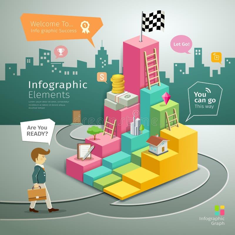 Βήματα γραφικών παραστάσεων Infographic στο επιχειρησιακό άτομο επιτυχίας διανυσματική απεικόνιση
