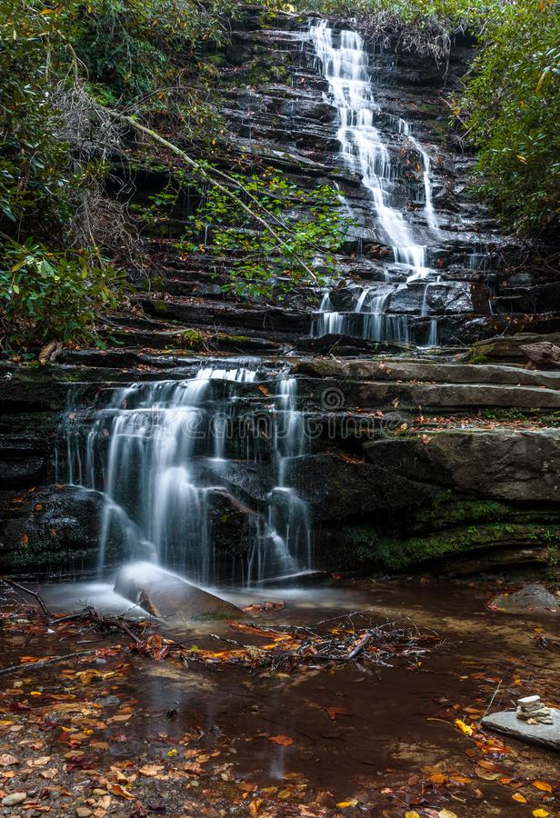 Βήματα και φύλλα καταρρακτών ih στο νερό στοκ φωτογραφία με δικαίωμα ελεύθερης χρήσης