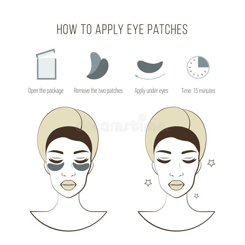 Βήματα πώς να εφαρμόσει τα μπαλώματα ματιών Καλλυντική μάσκα για το μάτι Διανυσματικές απεικονίσεις καθορισμένες ελεύθερη απεικόνιση δικαιώματος