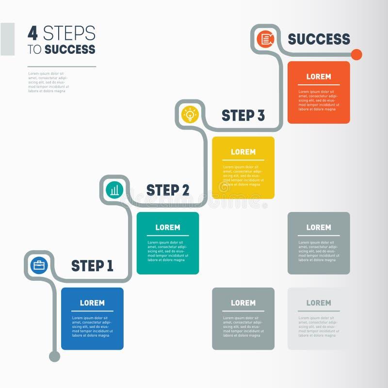 4 βήματα στην επιτυχία - γραφικό πρότυπο πληροφοριών επιχειρησιακής υπόδειξης ως προς το χρόνο wo διανυσματική απεικόνιση