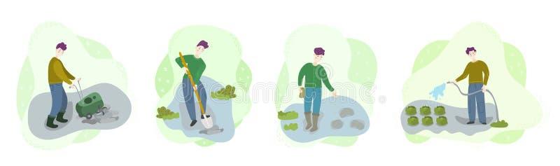 Βήματα των οργανικών λαχανικών ανάπτυξης στον τομέα Τα άτομα καλλιεργούν το χώμα, σκάβουν την τρύπα, σπόροι θηλυκών χοίρων, πότισ ελεύθερη απεικόνιση δικαιώματος