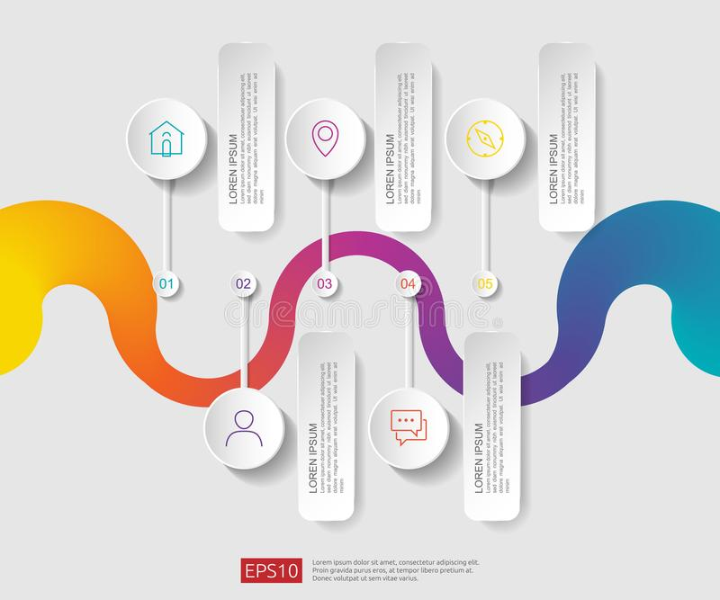 5 βήματα infographic πρότυπο σχεδίου υπόδειξης ως προς το χρόνο με την τρισδιάστατη ετικέτα εγγράφου, ενσωματωμένοι κύκλοι Επιχει ελεύθερη απεικόνιση δικαιώματος