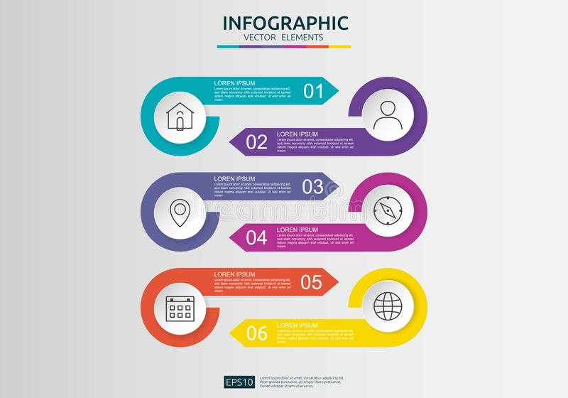 6 βήματα infographic πρότυπο σχεδίου υπόδειξης ως προς το χρόνο με την τρισδιάστατη ετικέτα εγγράφου, ενσωματωμένοι κύκλοι Επιχει διανυσματική απεικόνιση