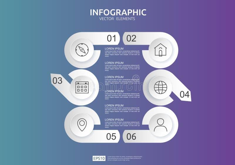 6 βήματα infographic πρότυπο σχεδίου υπόδειξης ως προς το χρόνο με την τρισδιάστατη ετικέτα εγγράφου, ενσωματωμένοι κύκλοι Επιχει ελεύθερη απεικόνιση δικαιώματος
