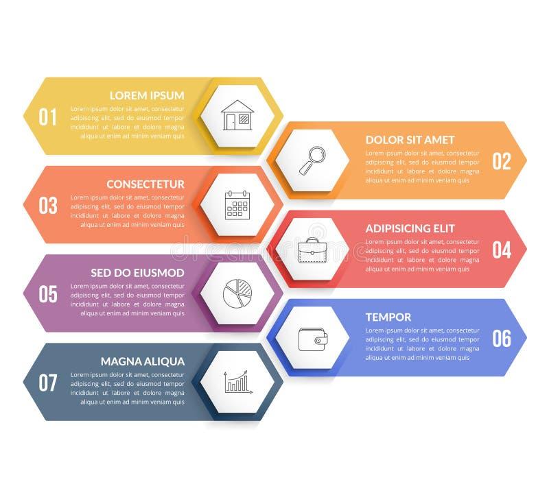 7 βήματα Infographics ελεύθερη απεικόνιση δικαιώματος