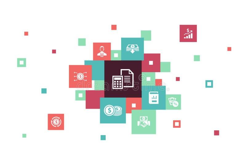 10 βήματα pixel για τη λογιστική infographic ελεύθερη απεικόνιση δικαιώματος