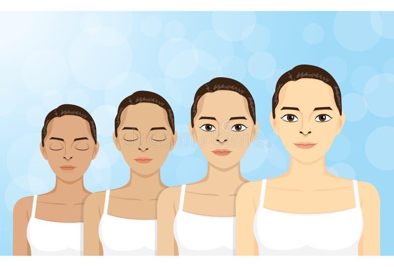 Βήμα-δέρμα-λευκαίνω-γυναίκες διανυσματική απεικόνιση