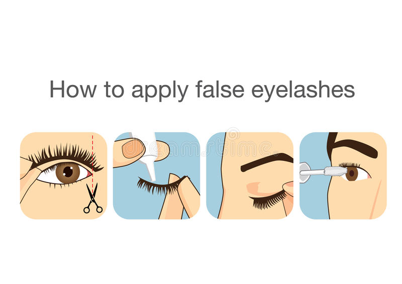 Βήμα οδηγών στην εφαρμογή του ψεύτικου eyelash ελεύθερη απεικόνιση δικαιώματος