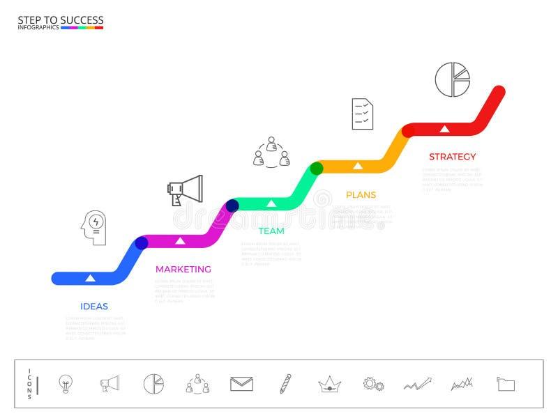 Βήμα σκαλοπατιών στην έννοια επιτυχίας Σύγχρονο ζωηρόχρωμο πρότυπο infographics επιχειρησιακής υπόδειξης ως προς το χρόνο με τα ε διανυσματική απεικόνιση