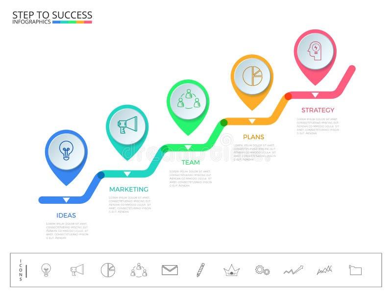Βήμα σκαλοπατιών στην έννοια επιτυχίας Σύγχρονο ζωηρόχρωμο πρότυπο infographics δεικτών επιχειρησιακής υπόδειξης ως προς το χρόνο διανυσματική απεικόνιση