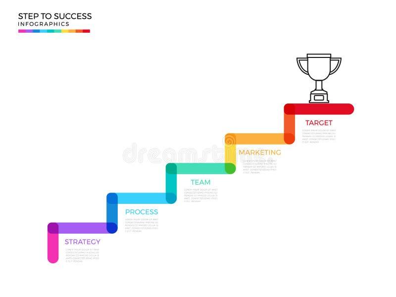 Βήμα σκαλοπατιών στο τρόπαιο και την έννοια επιτυχίας Σύγχρονο ζωηρόχρωμο πρότυπο infographics επιχειρησιακής υπόδειξης ως προς τ διανυσματική απεικόνιση
