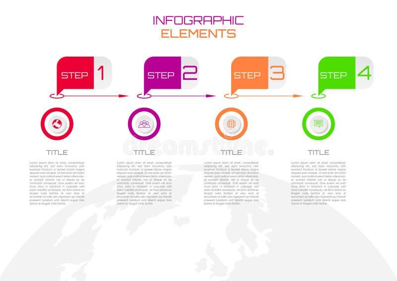 Βήμα infographic με τα πολύχρωμα στρογγυλά εικονίδια και το πρότυπο στο wor απεικόνιση αποθεμάτων