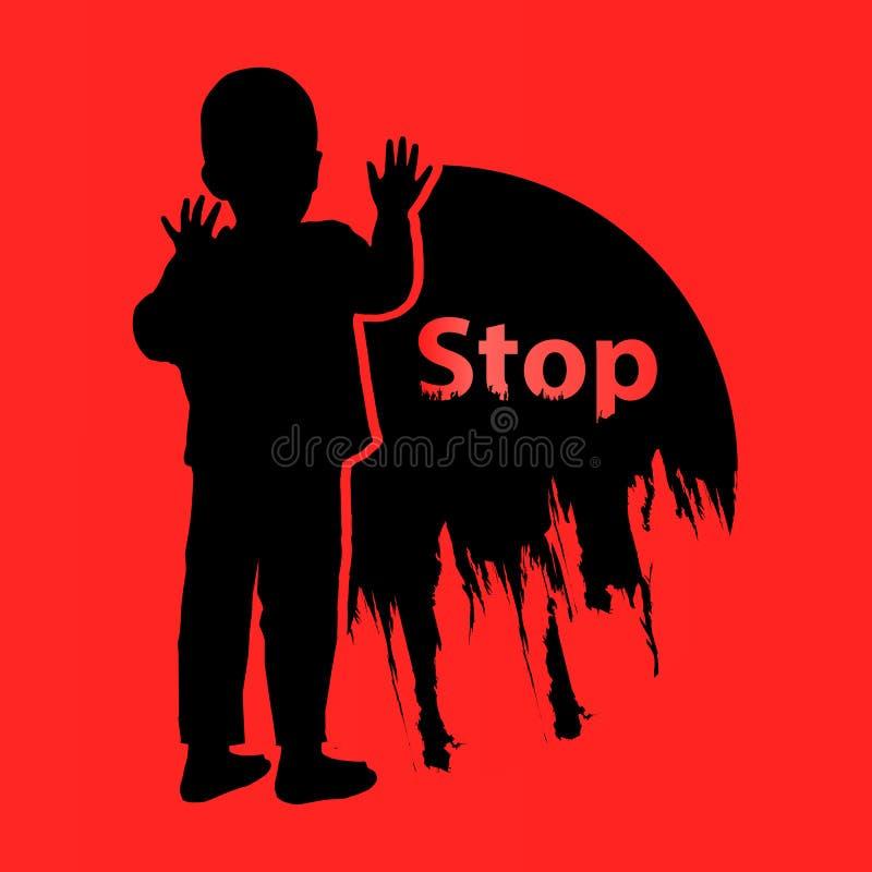 Βία παιδιών στάσεων ήπια ΛΟΓΟΤΥΠΟ απεικόνιση απεικόνιση αποθεμάτων