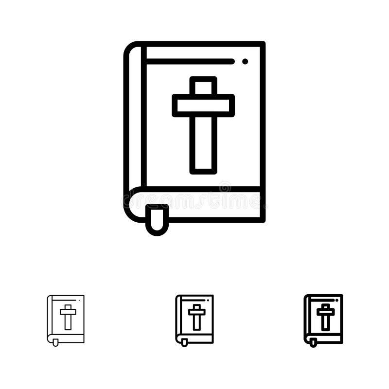 Βίβλος, βιβλίο, Πάσχα, τολμηρό και λεπτό μαύρο σύνολο εικονιδίων γραμμών θρησκείας απεικόνιση αποθεμάτων