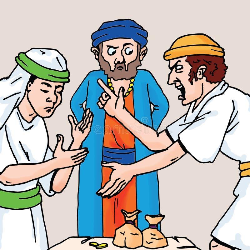 Βίβλος - η παραβολή του ανελέητου υπαλλήλου διανυσματική απεικόνιση