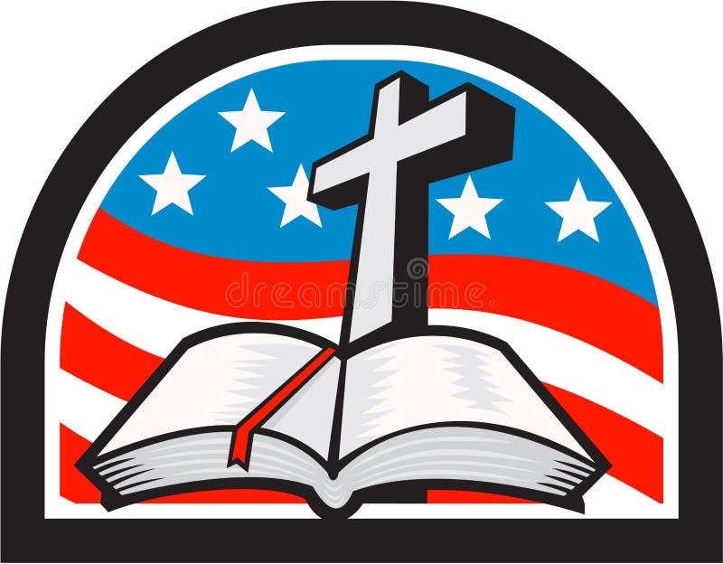 Βίβλος και διαγώνια σημαία αστεριών και λωρίδων αναδρομικές απεικόνιση αποθεμάτων