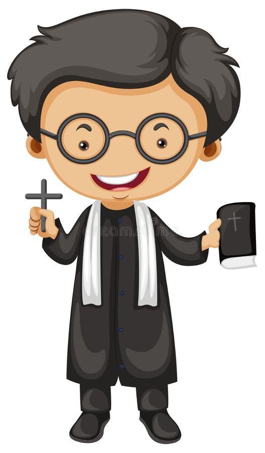 Βίβλος και σταυρός εκμετάλλευσης ιερέων διανυσματική απεικόνιση