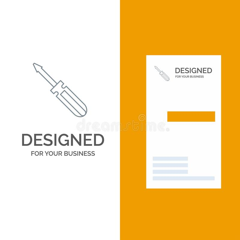Βίδα, οδηγός, εργαλείο, επισκευή, γκρίζο σχέδιο λογότυπων εργαλείων και πρότυπο επαγγελματικών καρτών ελεύθερη απεικόνιση δικαιώματος