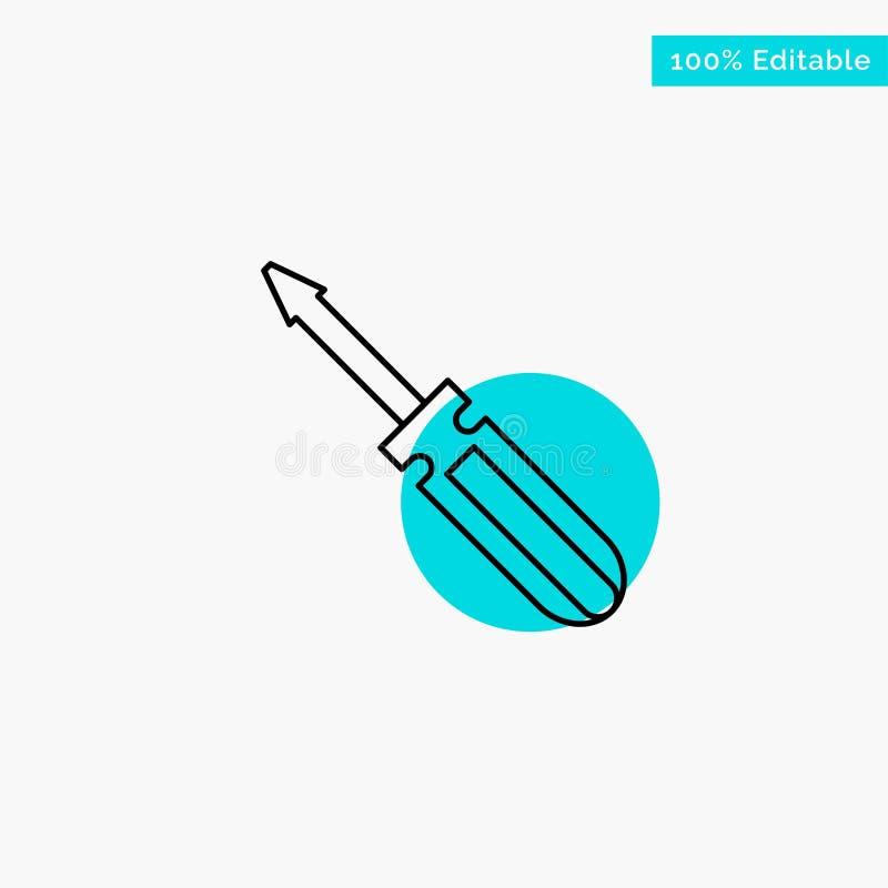 Βίδα, οδηγός, εργαλείο, επισκευή, διανυσματικό εικονίδιο σημείου κυριώτερων κύκλων εργαλείων τυρκουάζ απεικόνιση αποθεμάτων