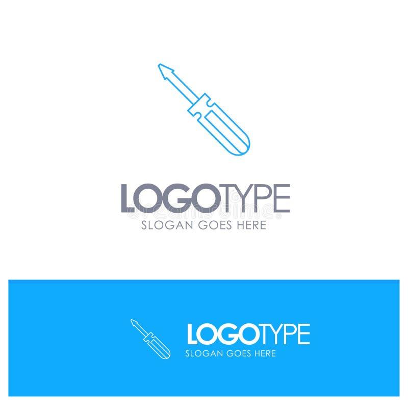 Βίδα, οδηγός, εργαλείο, επισκευή, μπλε λογότυπο περιλήψεων εργαλείων με τη θέση για το tagline απεικόνιση αποθεμάτων
