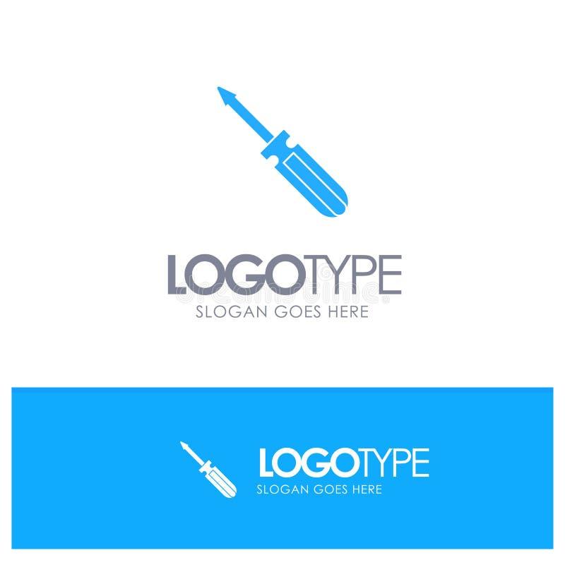 Βίδα, οδηγός, εργαλείο, επισκευή, μπλε στερεό λογότυπο εργαλείων με τη θέση για το tagline ελεύθερη απεικόνιση δικαιώματος