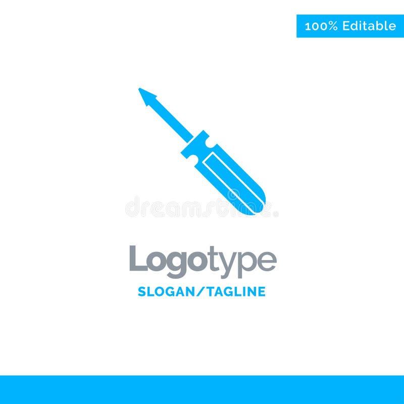 Βίδα, οδηγός, εργαλείο, επισκευή, μπλε στερεό πρότυπο λογότυπων εργαλείων r διανυσματική απεικόνιση