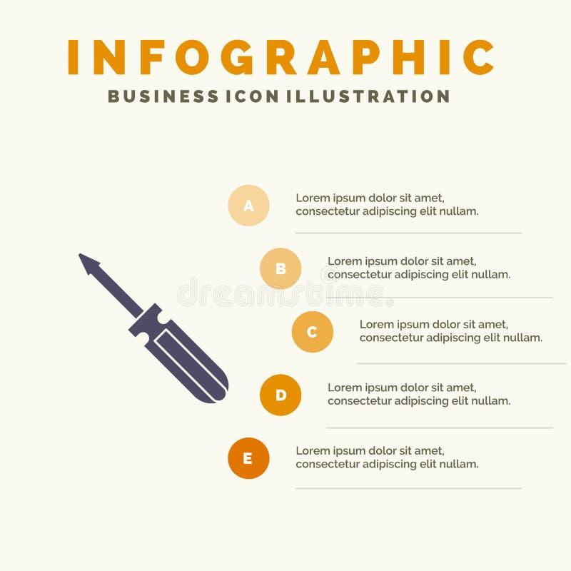 Βίδα, οδηγός, εργαλείο, επισκευή, στερεό εικονίδιο Infographics 5 εργαλείων υπόβαθρο παρουσίασης βημάτων απεικόνιση αποθεμάτων